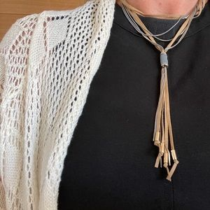Free People boho choker with suede and metal